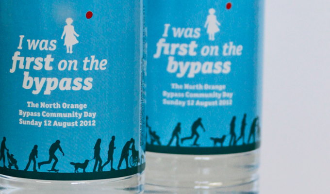 First on the bypass water bottle - detail