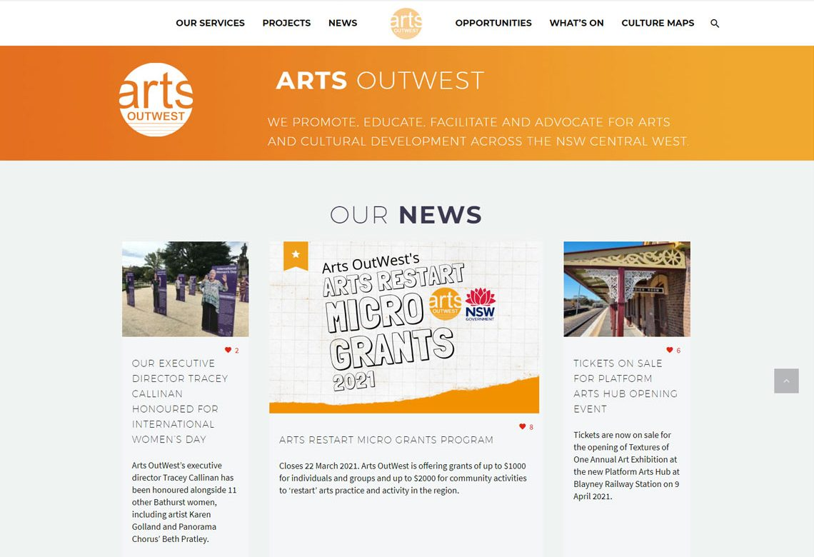Arts OutWest new website design