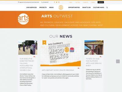 Arts OutWest new website design