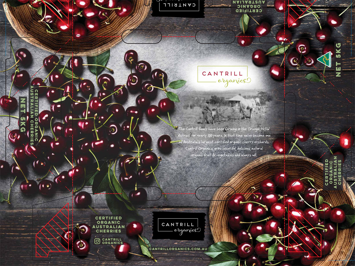 Cherry box packaging for Cantrill Organics 5KG Cherry LId 2019