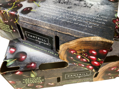 Cherry box packaging for Cantrill Organics