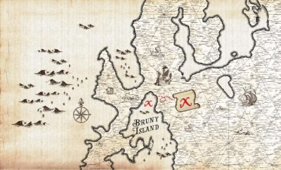 Treasure Maps style Banner Graphic An Island off and Island