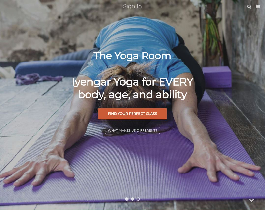 The- Yogaroom Orange website home page layout banners