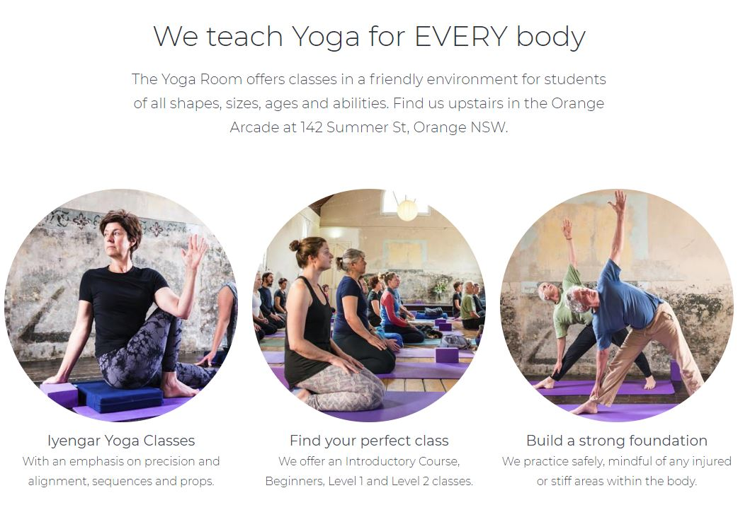 The Yogaroom Orange webpage layout