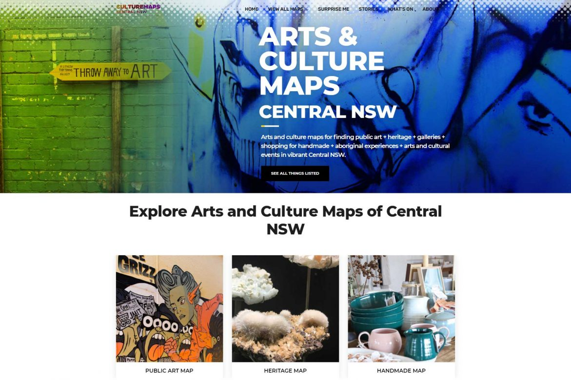 Interactive site ARTS & CULTURE MAPS CENTRAL NSW