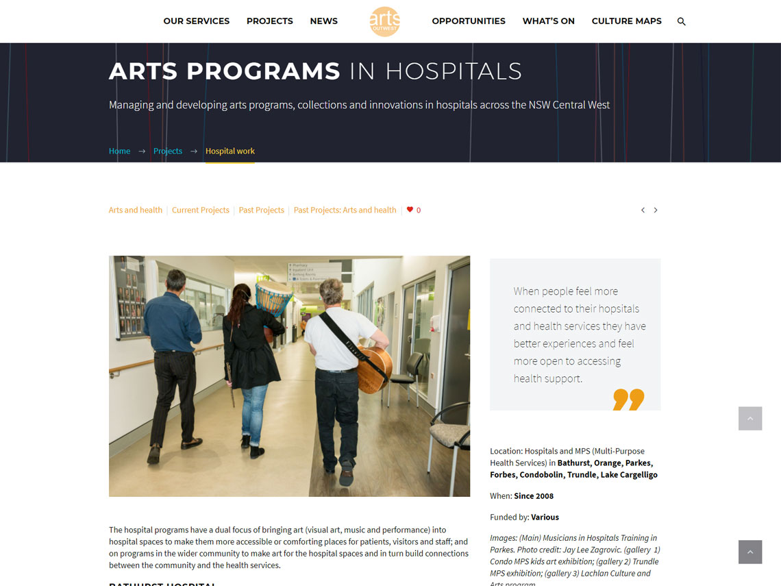 Arts OutWest site